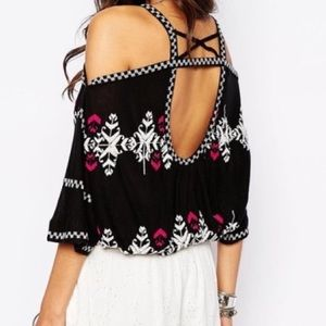 Free People XS Embroidered cold shoulder Top
